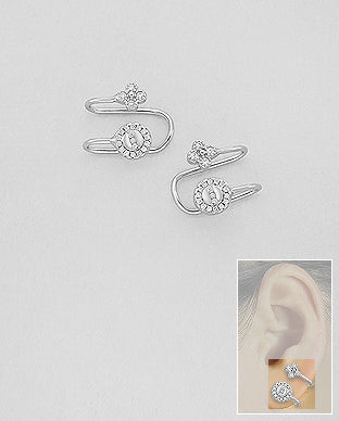 925 Sterling Silver Ear Cuffs Circle CZ Decorated