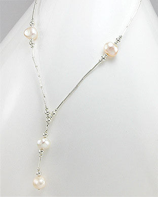 White Cultured Fresh Water Pearl Drop Neckace with Sterling Silver