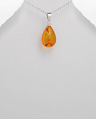Sterling Silver Pendant Necklace Decorated In Baltic Amber Waterdrop
