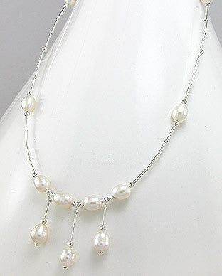 Sterling Silver Necklace White Fresh Water Pearls