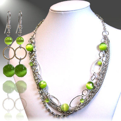 Tropical Green Necklace Set, Chain Jewelry Set