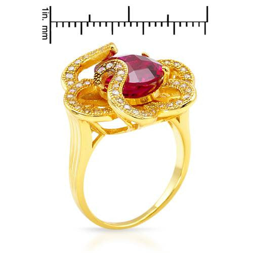 Rings, 18K Gold Plated 925 Silver, 5.36 CTW Ruby