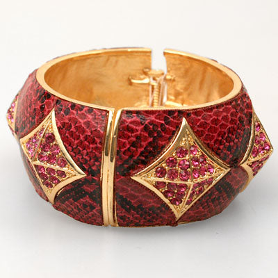 Fuchsia Reptile Print Fashion Bangle Bracelet
