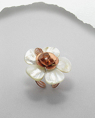 Adjustable Mother Of Pearl Flower Copper Ring