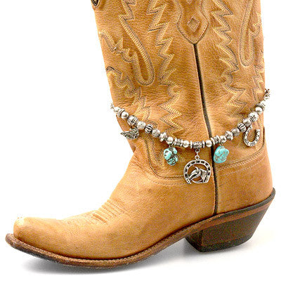 Boot Jewelry, Antique Silver Beaded, Turquoise, Charms