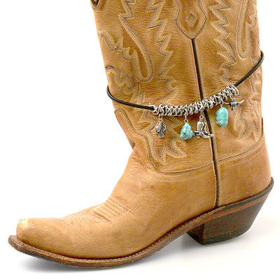 Boot Jewelry, Wrapped Chain, Turquoise, Charms