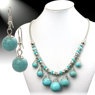 Turquoise Bubble Silver Chain Statement Necklace Set