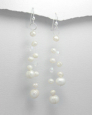 Sterling Silver Fresh Water Pearl Circle Drop Earrings, Natural White