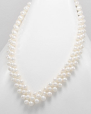 Three-tier White Cultured Fresh Water Pearl V-Neckace with Anti-Tarnish Sterling Silver