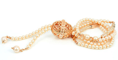 Swarovski Crystal inside 18K Rose Gold Netting, Ball Filigree, Long Necklace