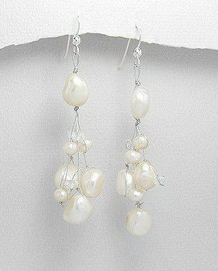 Sterling Silver Fresh Water Pearl Dangle Earrings, Natural White