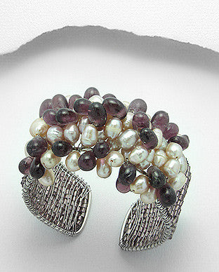 Fresh Water Pearl Cuff Bracelet with Natural Off-White and Plum Glass Beads