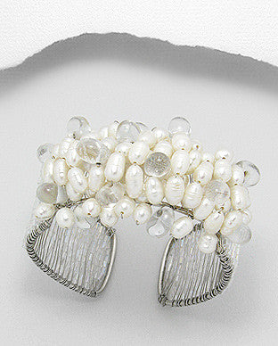 Fresh Water Pearl Cuff Bracelet with White Base Metal