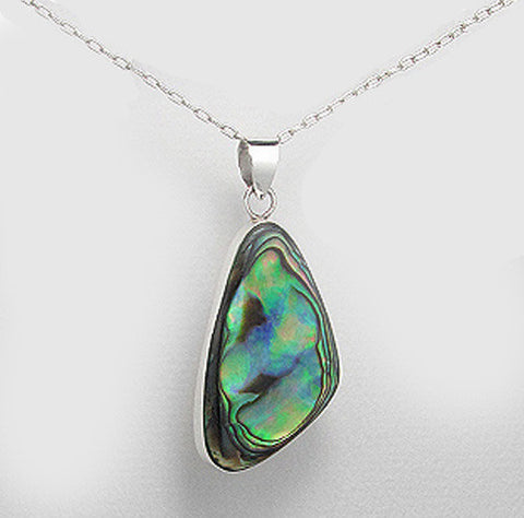 Sterling Silver Abalone Pendant, Abalone Earrings, Chain