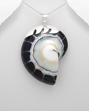 Sterling Silver Wave Black Nautilus Sea Shell Pendant, Chain
