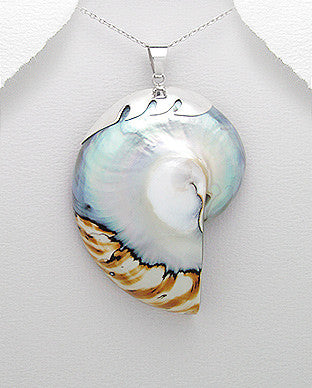Sterling Silver Wave Mixed Colors Nautilus Sea Shell Pendant, Chain