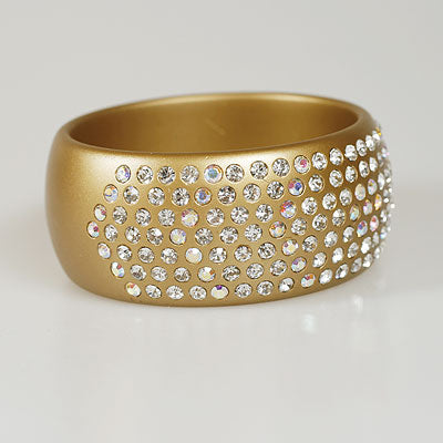 Crystal  Wide Gold Bangle Bracelet