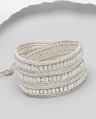 Elegant White Leather Wrap Bracelet or Necklace
