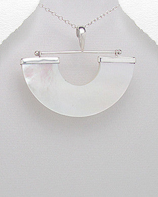 Vanguard Sterling Silver Natural Shell Pendant With Matching Earrings, Chain