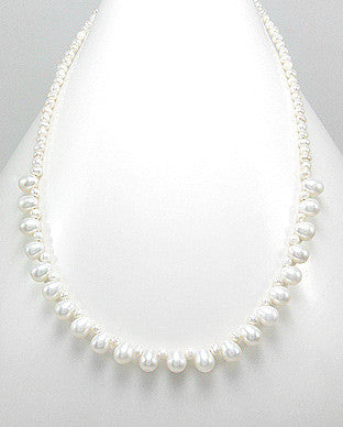 Updated White Cultured Fresh Water Pearl Neckace with Sterling Silver
