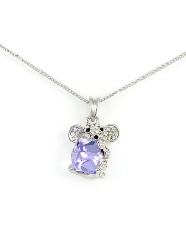Christmas Mouse Holding Swarovski Tanzanite Cube Crystal