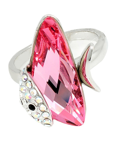 Pink Swarovski Crystal Fish Ring