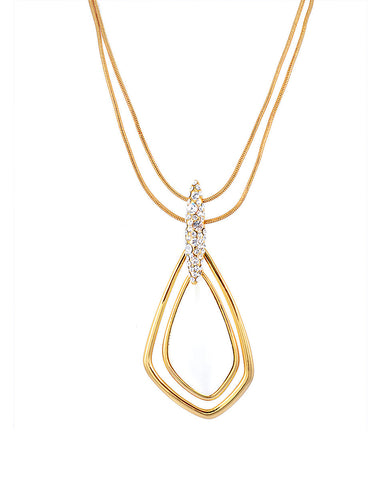 18K Gold Long Necklace, Cabochon