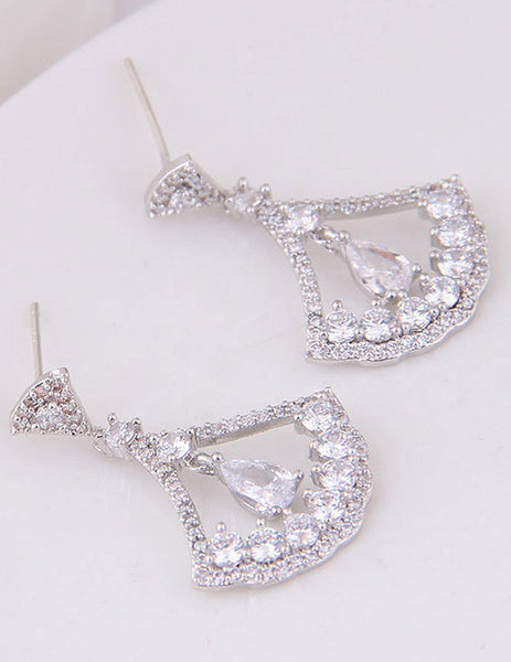 Sterling Silver Plated Crystal Short Dangle Earrings