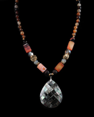 Trunk Show Handmade Swarovski Beaded Pendant Necklace, Dynasty