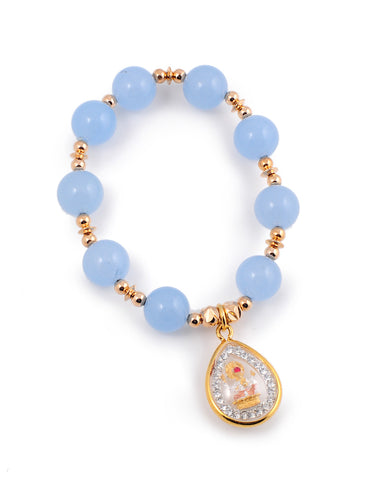 Exotic Jewels Collection High Quality Crystal and Beads Yoga Bracelet Lt. Blue Water Drop