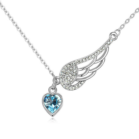 Meridan Blue Crystal Wing Heart Necklace