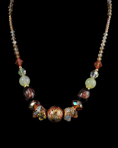 Trunk Show Handmade Swarovski Beaded Long Necklace, Golden