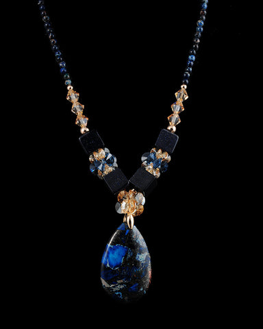 Trunk Show Handmade Swarovski Beaded Long Necklace, Deep Blue Pendant