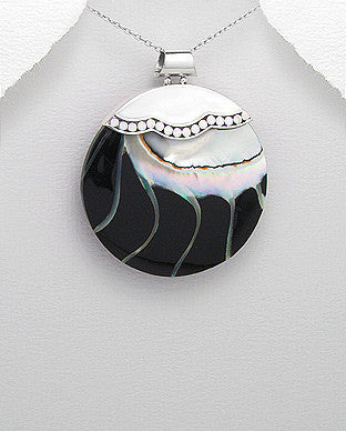 Sterling Silver Black Sea Shell Pendant, Chain