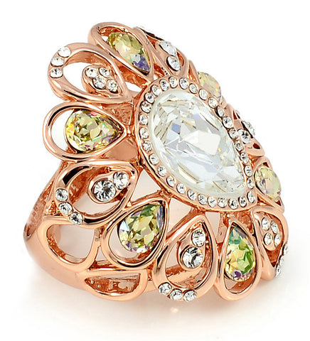 18K Rose Gold, Swarovski Crystal, Broadway Series Statement Ring