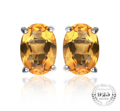 Oval 1.4ct Citrine Birthstone Solitare Earrings in Sterling Silver