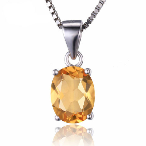 Oval 1.7ct Citrine Birthstone Solitare Pendant in Sterling Silver