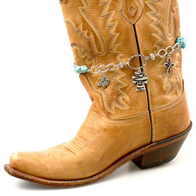 Western Cross Boot Anklet Chain Link