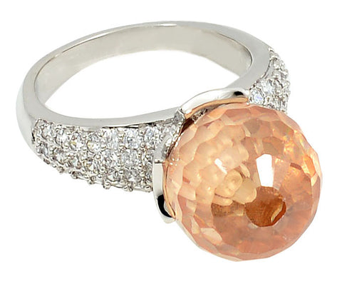 Disco Ring, Cubic Zirconia, Austrian Crystal, Apricot