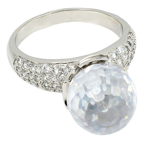 Disco Ring, Cubic Zirconia, Austrian Crystal, Clear Disco Ball