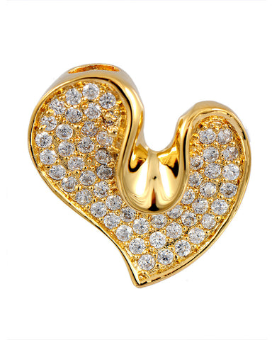 18K Gold Plated Cubic Zirconia Heart Pendant