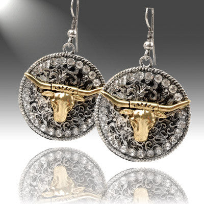 Western Earrings, Fancy Steer