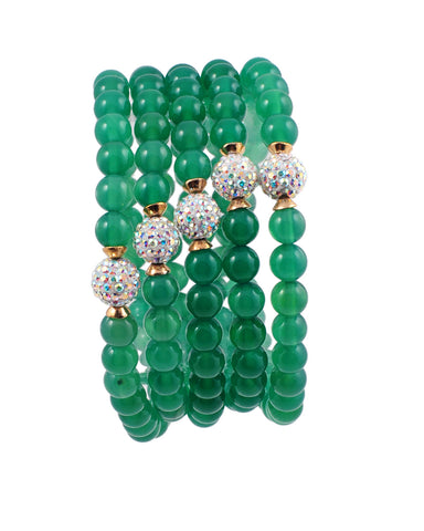 Exotic Jewels Collection High Quality Crystal and Beads Yoga Bracelet Green