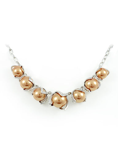 18K White Gold Plated Dream Gold Pearl Necklace