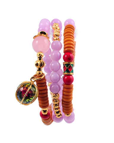 Exotic Jewels Collection High Quality Crystal and Beads Yoga Bracelet Lavender