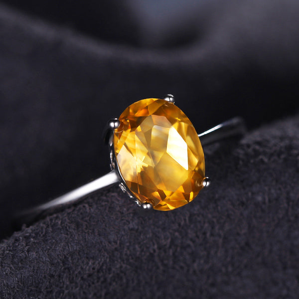 Oval 1.4ct Citrine Birthstone Solitare Ring in Sterling Silver