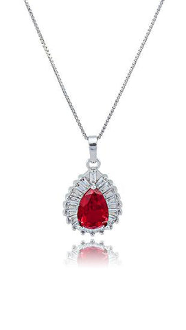 Vintage Red Cubic Zirconia Necklace