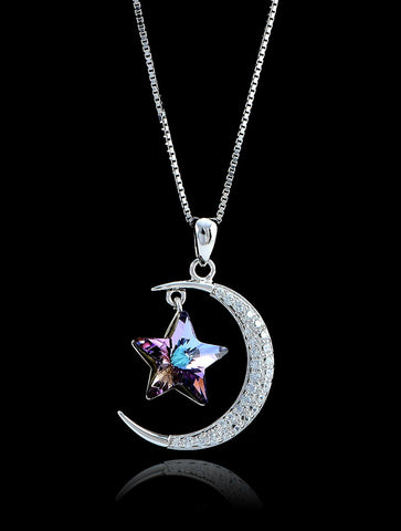 Moon and Star Swarovski Sterling Silver Necklace