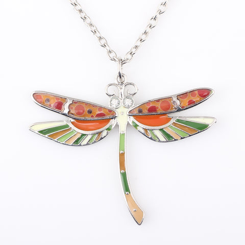 Earthly Dragonfly Pendant Necklace