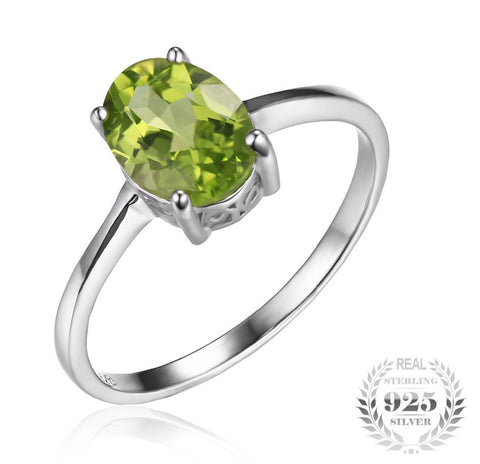 Oval 1.4ct Natural Green Peridot Birthstone Solitare Ring in Sterling Silver